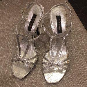 Nina Silver Snakeskin Strappy Sandal  8.5 M